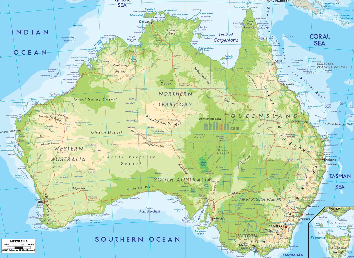 Cartina Geografica Australia E Nuova Zelanda.Australia Cartina Geografica Cartina Geografica Dell Australia