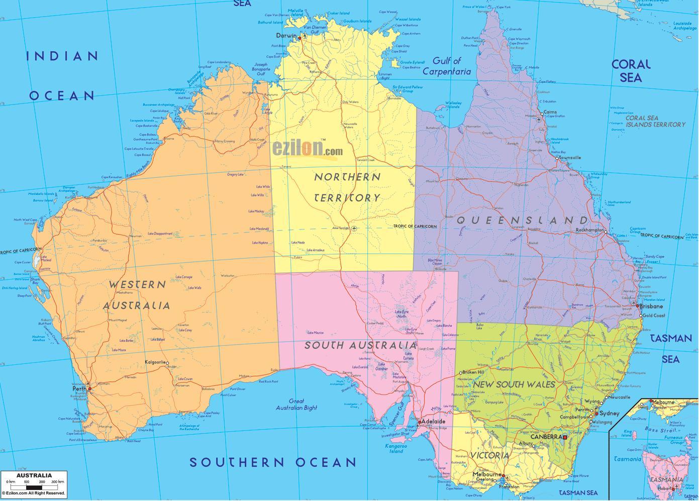 Australia E Nuova Zelanda Cartina.Australia Cartina Politica Cartina Politica Dell Australia