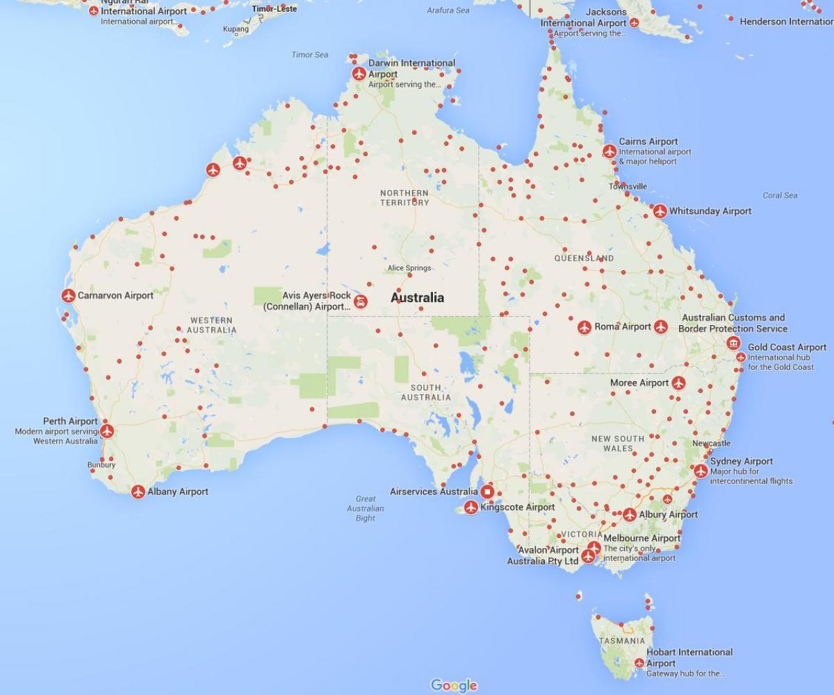 Cartina Australia E Nuova Zelanda.Aeroporti Australiani Mappa Mappa Degli Aeroporti